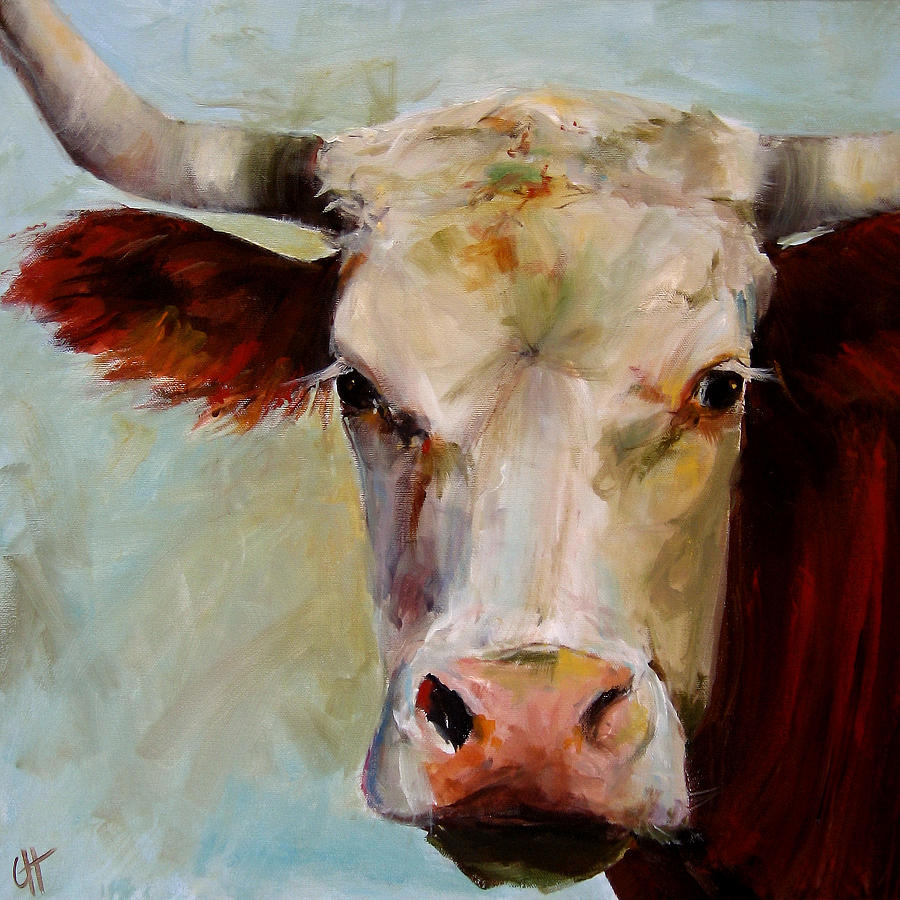 Cow Painting - Lucile by Cari Humphry