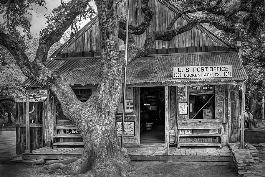 Luckenbach 2 Black And White Photograph
