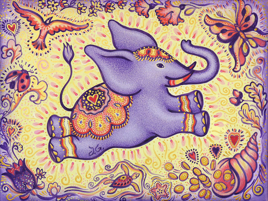 Lavender Painting - Lucky Elephant Purple by Judith Grzimek