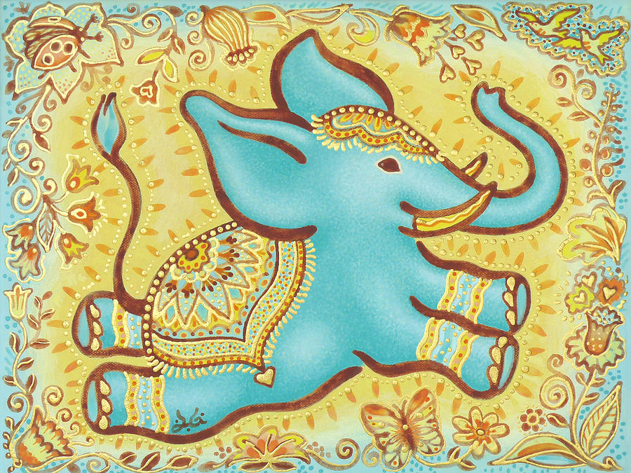 Lucky Elephant Turquoise Painting - Lucky Elephant Turquoise by Judith Grzimek