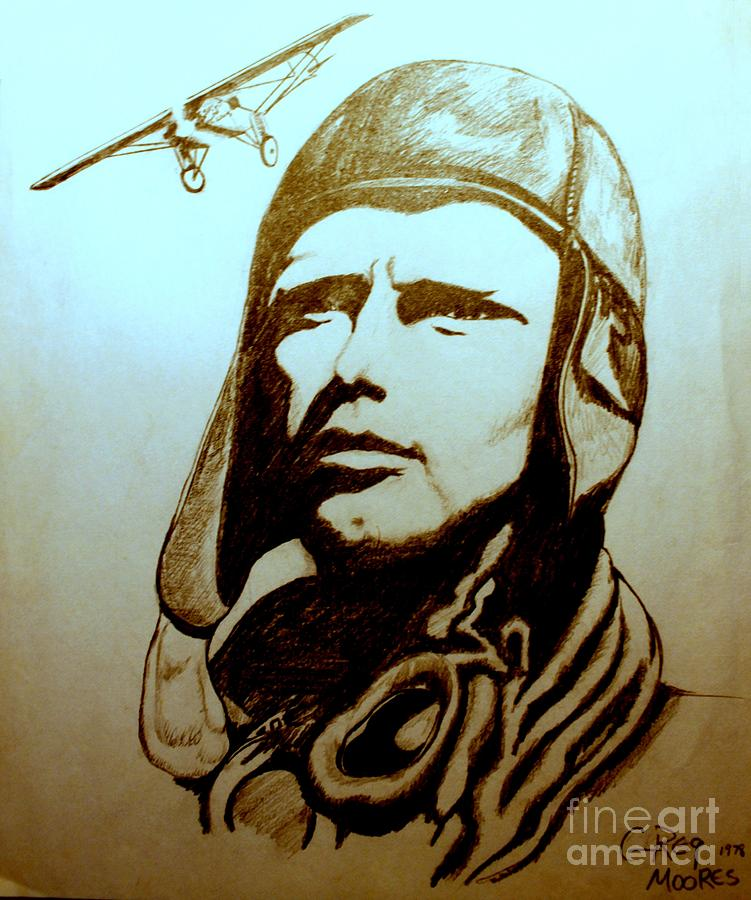 Lindbergh Drawing - Lucky Lindy by Greg Moores