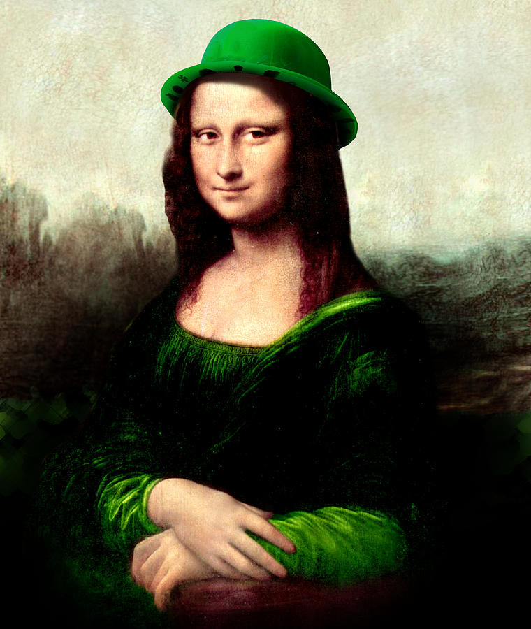 St Patrick's Day Painting - Lucky Mona Lisa by Gravityx9  Designs