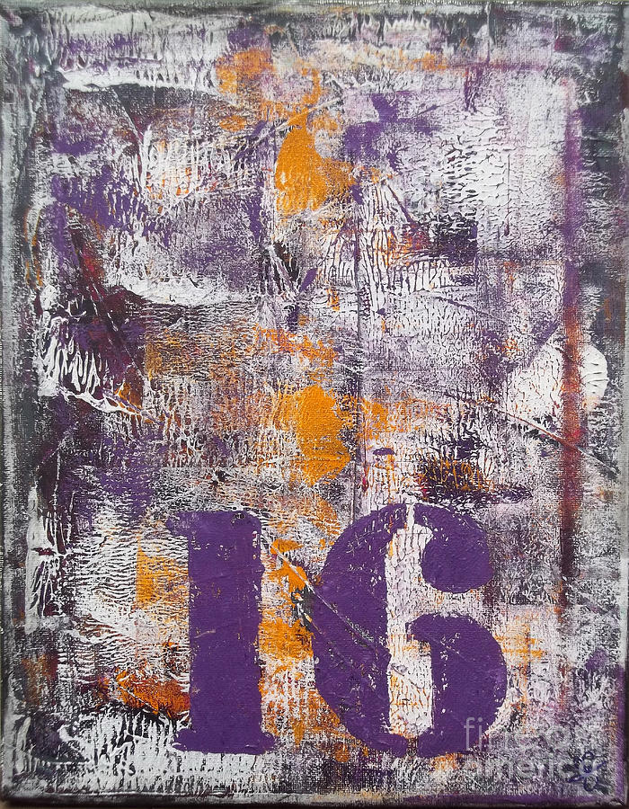 Color Painting - Lucky Number 16 Purple Orange Grey Abstract By Chakramoon by Belinda Capol