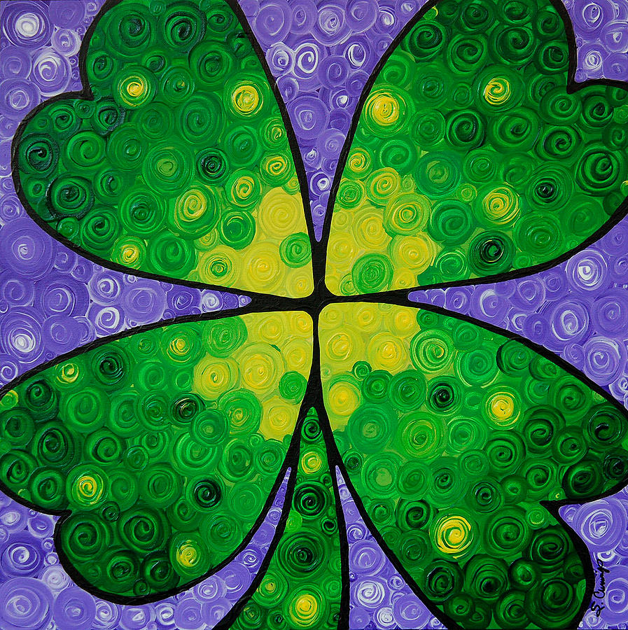 Shamrock Painting - Lucky One by Sharon Cummings