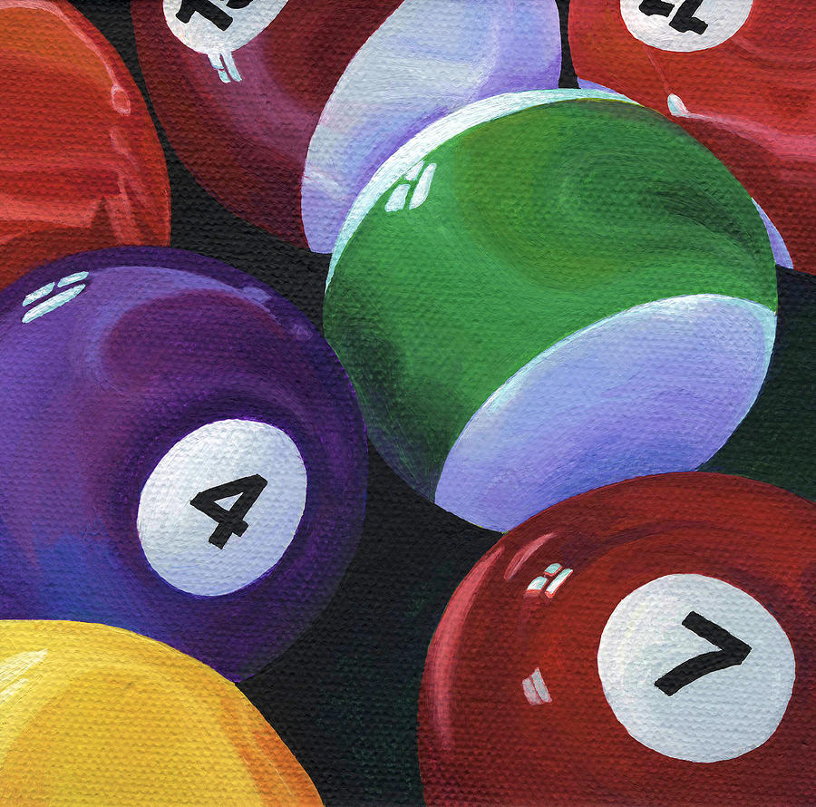 Pool Table Painting - Lucky Seven by Natasha Denger