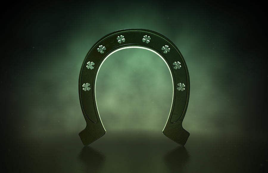 Luck Digital Art - Lucky Shamrock Horseshoe by Allan Swart