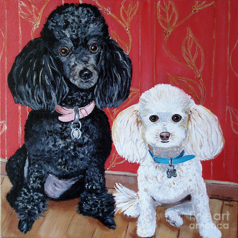 Poodles Painting - Lucy And Leopold by Linda Queally