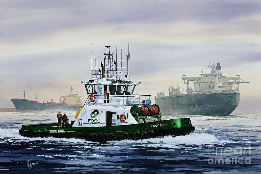 Tugboat Painting - Lucy Foss by James Williamson