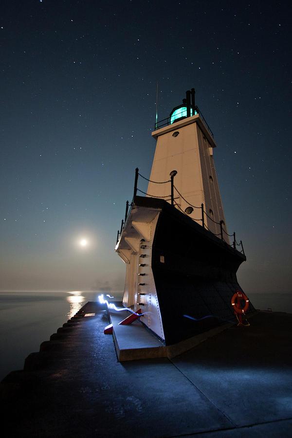 Architecture Photograph - Ludington North Breakwater Lighthouse by Adam Romanowicz