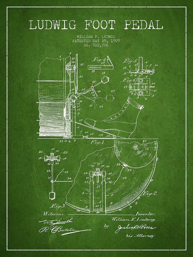 Drum Digital Art - Ludwig Foot Pedal Patent Drawing From 1909 - Green by Aged Pixel