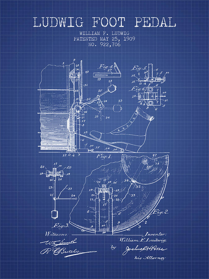 Drum Digital Art - Ludwig Foot Pedal Patent From 1909 - Blueprint by Aged Pixel