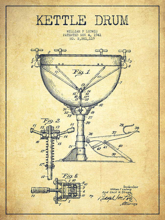 Kettle Drum Digital Art - Ludwig Kettle Drum Drum Patent Drawing From 1941 - Vintage by Aged Pixel