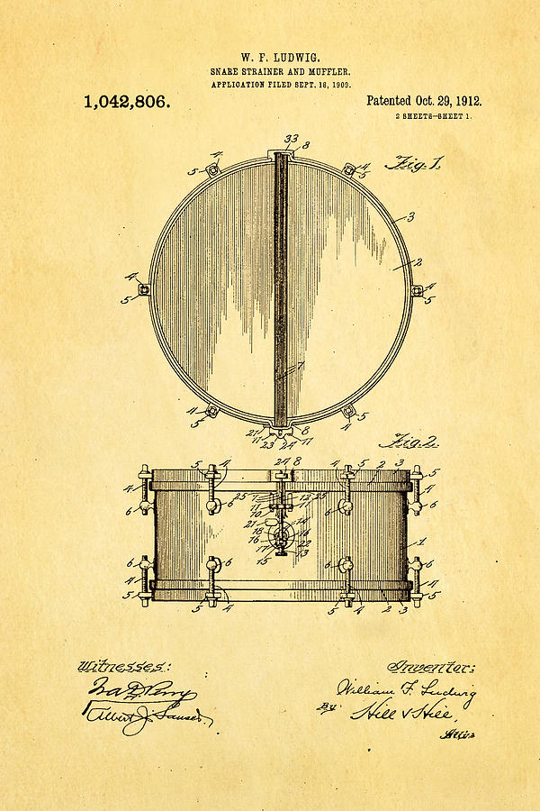 Famous Photograph - Ludwig Snare Drum Patent Art 1912 by Ian Monk
