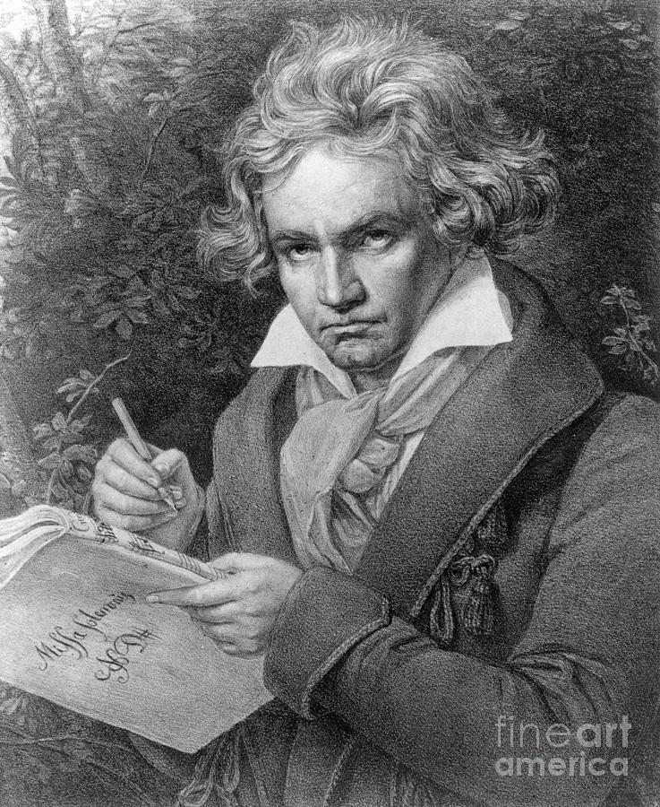 Portrait Drawing - Ludwig Van Beethoven by Joseph Carl Stieler