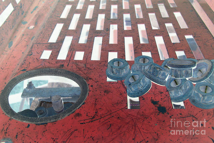 Equipment Photograph - Lug Nuts On Grate And Circle H by Heather Kirk