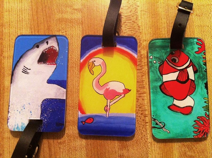 Luggage Tags Drawing - Luggage Tags For Sale by Fred Hanna