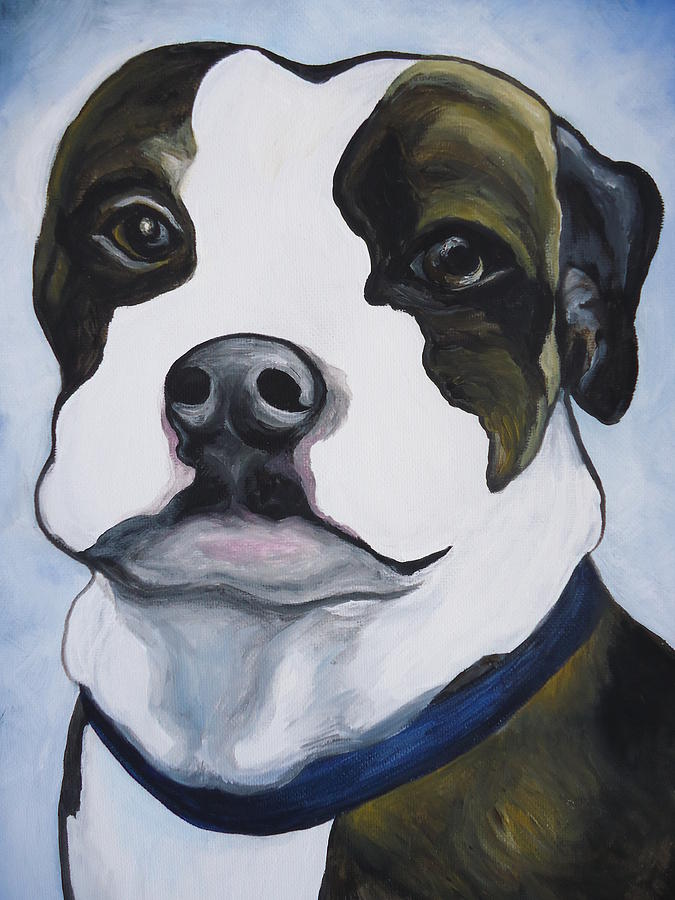 Dog Painting - Lugnut Portrait by Leslie Manley