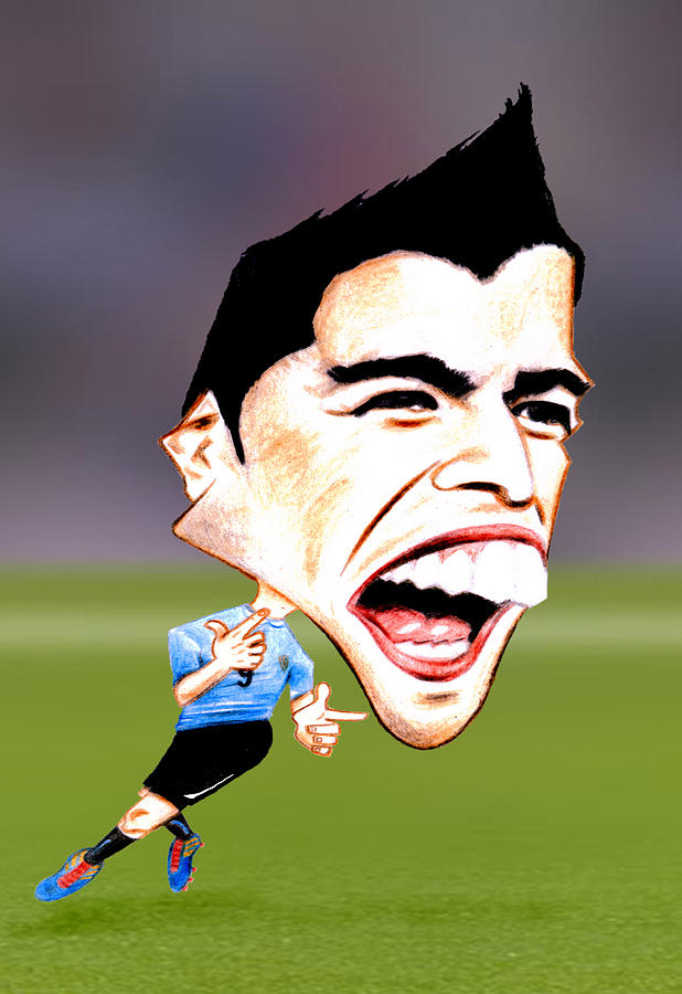 Luis Suarez Drawing - Luis Suarez by Diego Abelenda