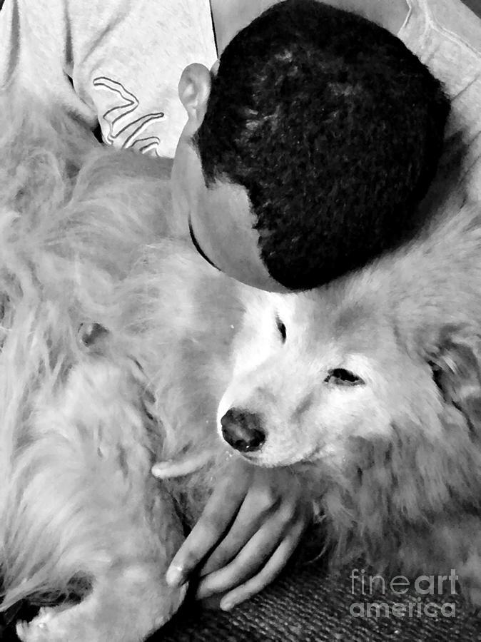 Portrait Photograph - Luke And Little Bear by Sarah Loft
