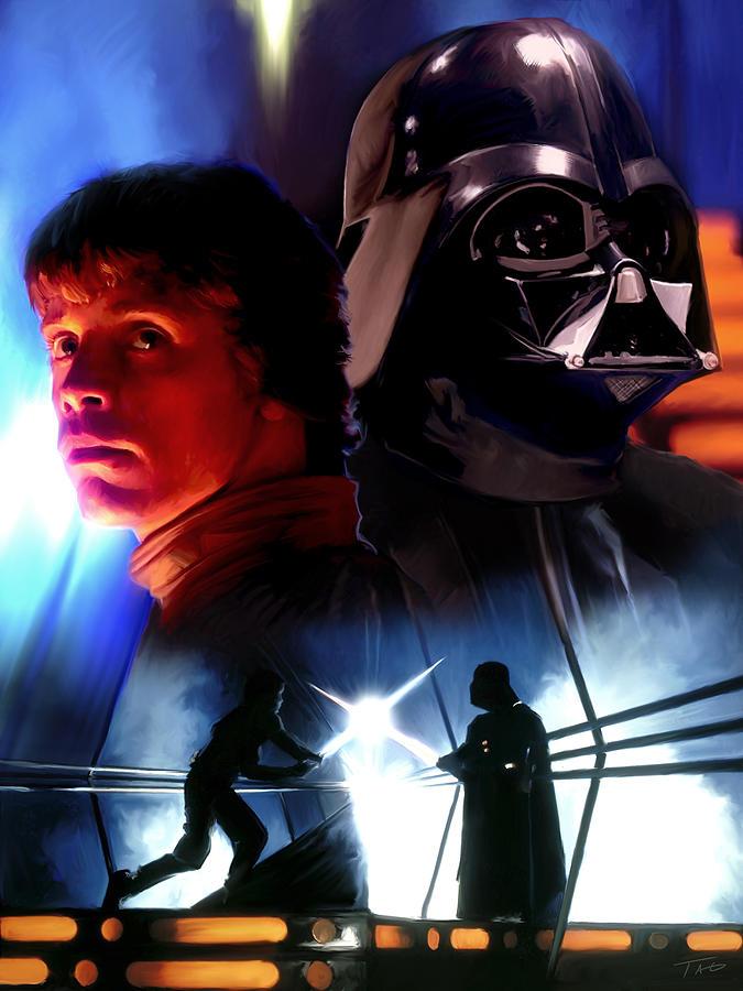 Luke Skywalker Vs Darth Vader Painting By Paul Tagliamonte