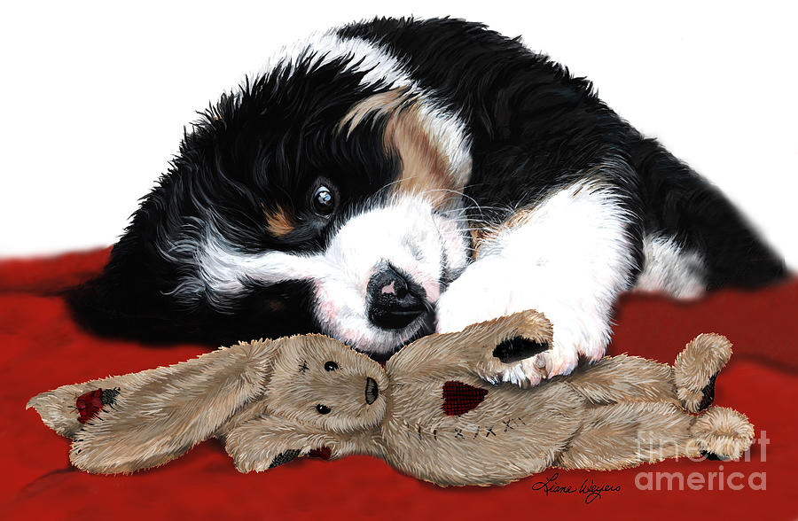 Bernese Mountain Dog Painting - Lullaby Berner And Bunny by Liane Weyers