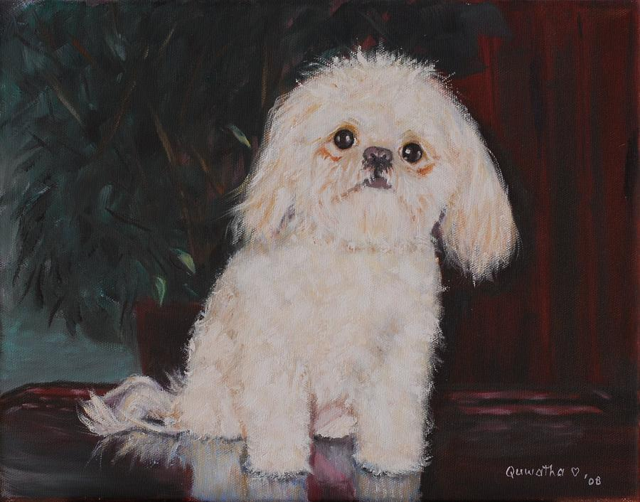 Dog Painting - Lulu by Quwatha Valentine