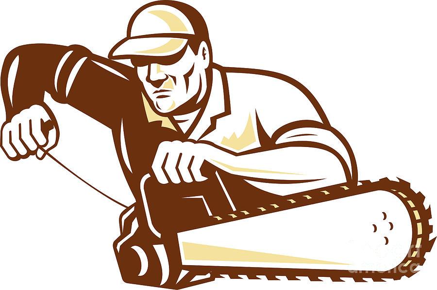 Lumberjack Digital Art - Lumberjack Tree Surgeon Arborist Chainsaw by Aloysius Patrimonio