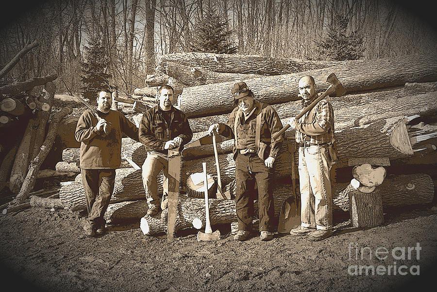 Sepia Photograph - Lumberjacks by Robert Kleppin