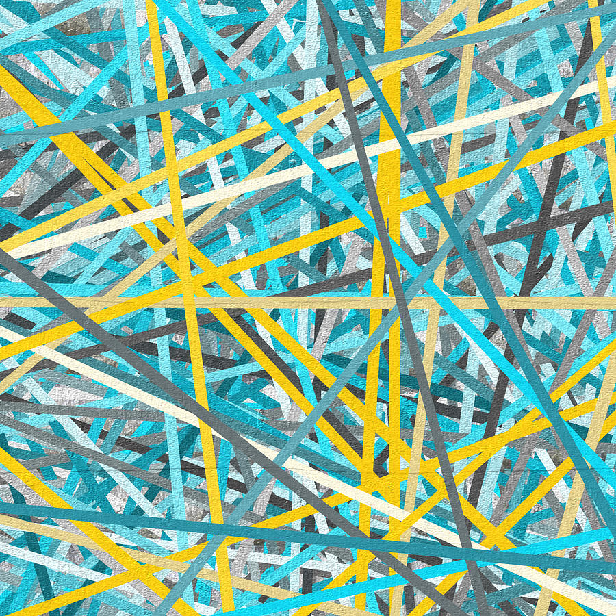 Luminous Attachment Yellow And Turquoise Abstract Painting By Lourry Legarde