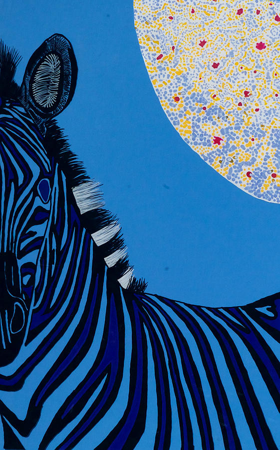 Lunar Blue Zebra Painting by Patrick OLeary