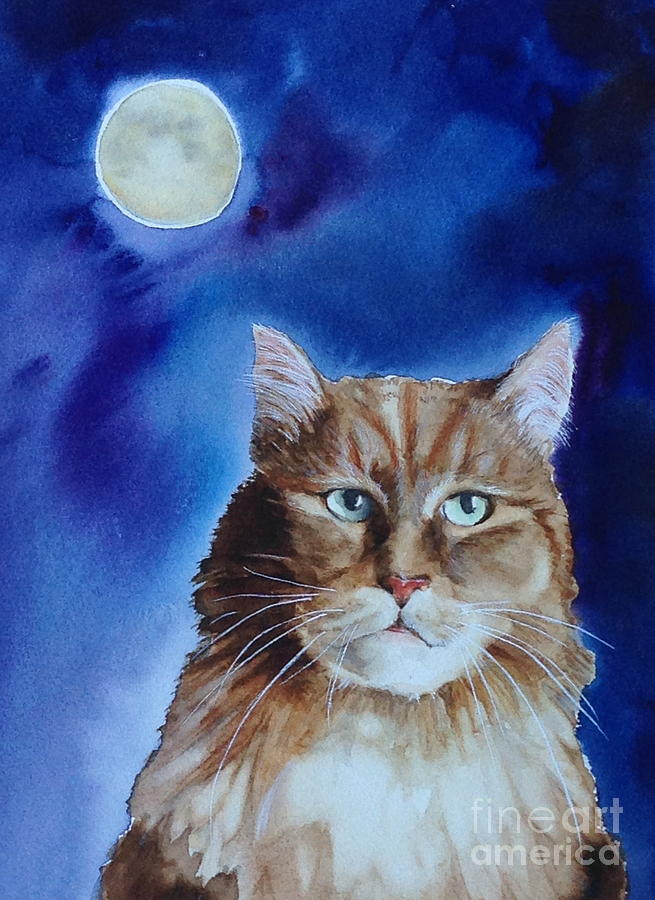 Watercolor Painting - Lunar Cat by Kym Stine