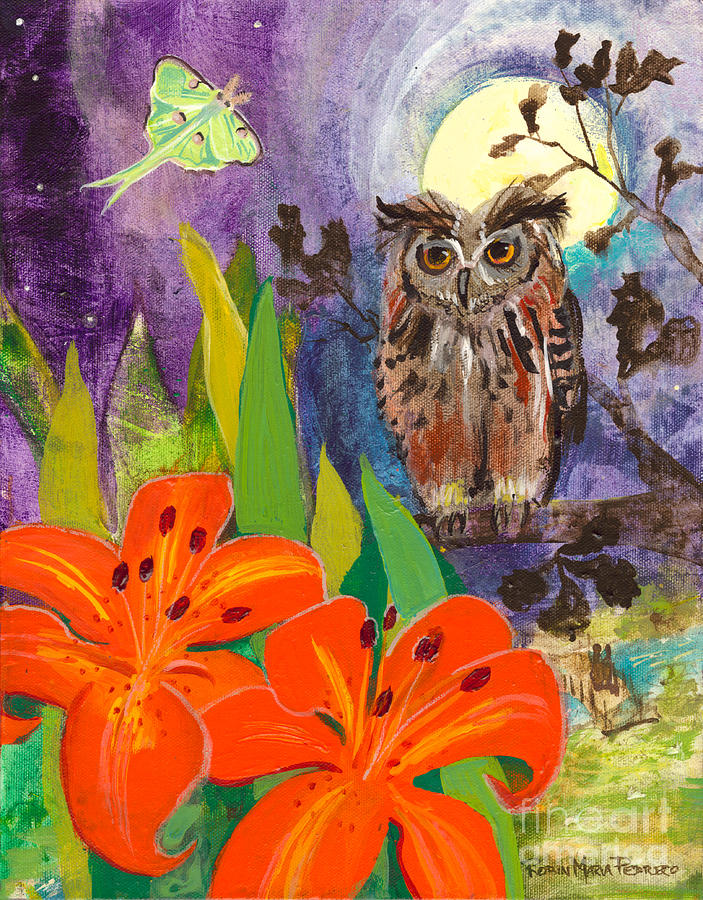 Owl Painting - Lunar Enchantment by Robin Maria Pedrero