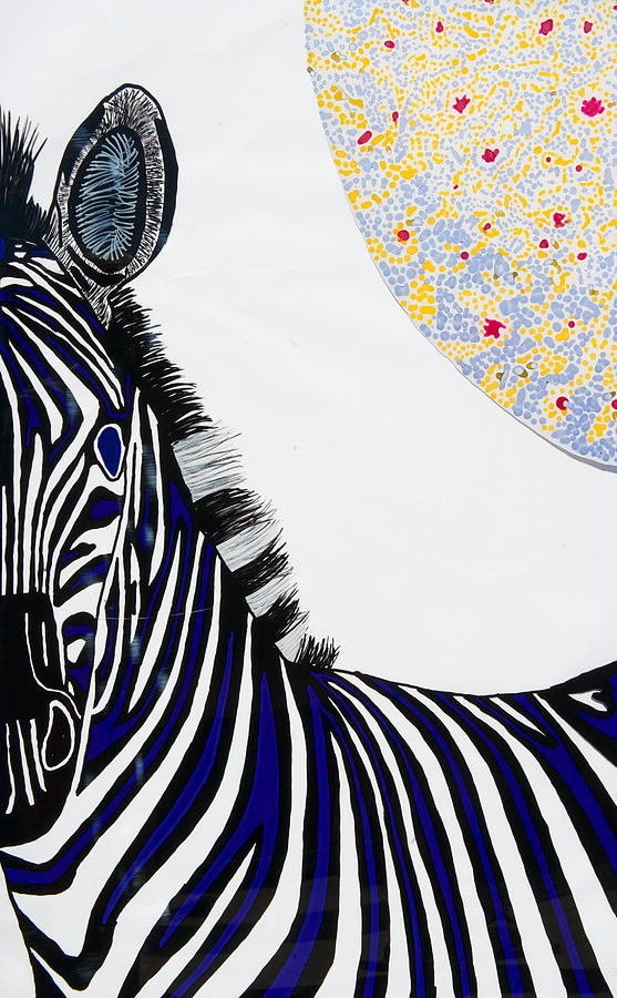 Lunar White Zebra Painting by Patrick OLeary