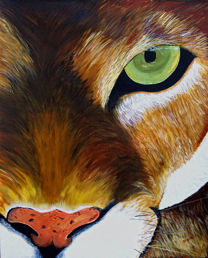 Mountain Lion Painting - Lunch by Donna Blackhall