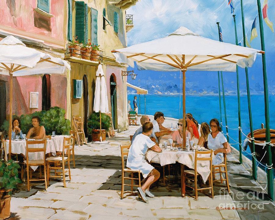 Portofino Painting - Lunch In Portofino by Michael Swanson