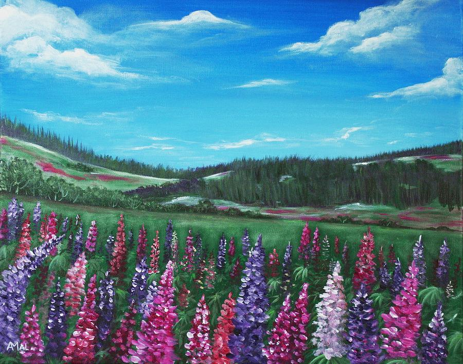 Hills Painting - Lupine Hills by Anastasiya Malakhova