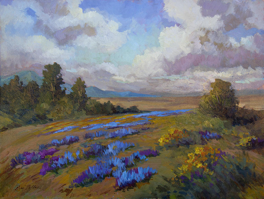 Lupines Painting - Lupines And Desert Sunflowers by Diane McClary