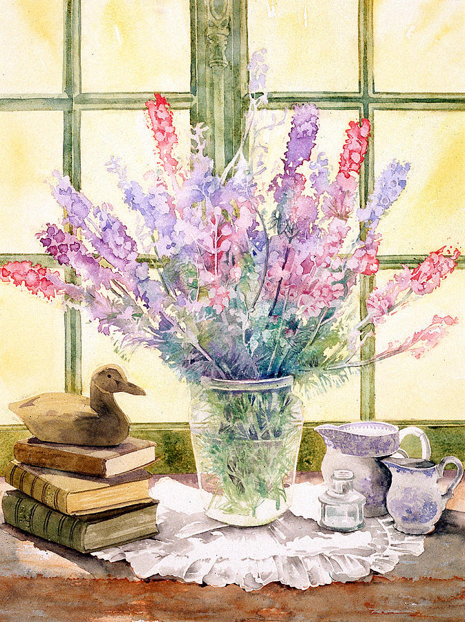 Book Photograph - Lupins On Windowsill by Julia Rowntree