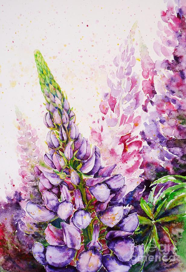 Lupins Painting By Zaira Dzhaubaeva