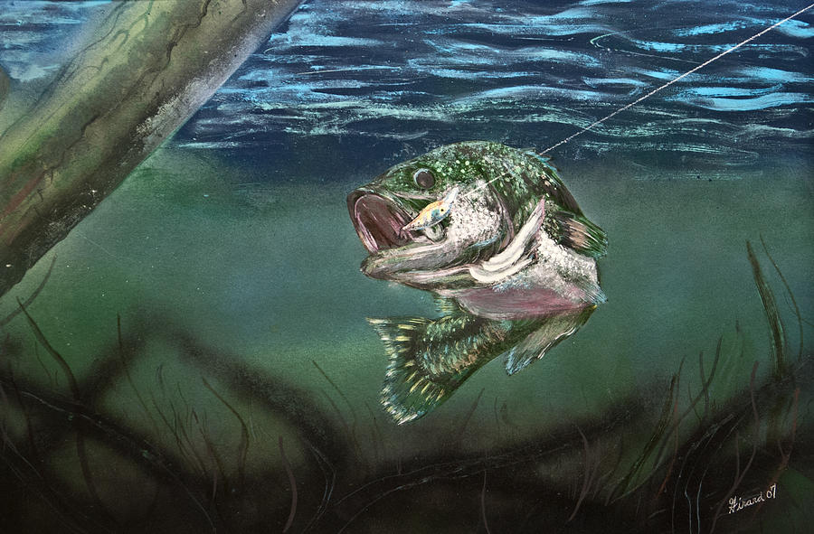 Bass Painting - Lured In by Jason Girard
