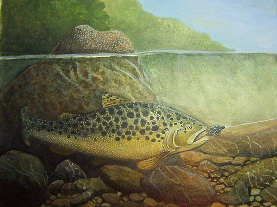 Brown Trout Painting - Lurking by Rick Huotari