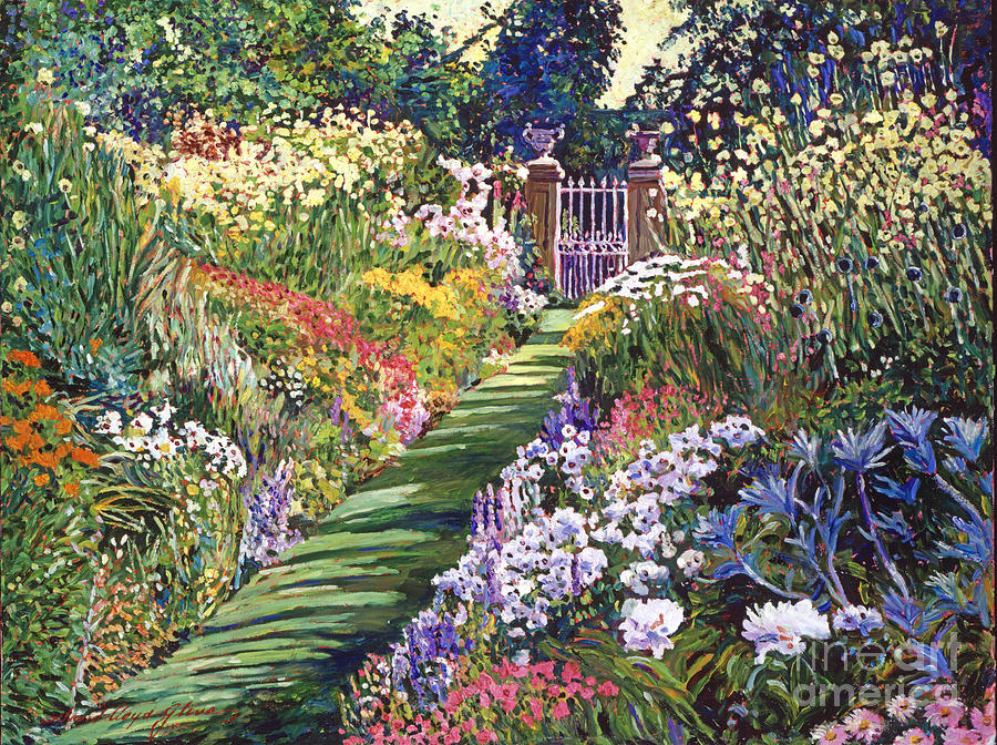 Gardenscapes Painting - Lush Floral Pathway by David Lloyd Glover