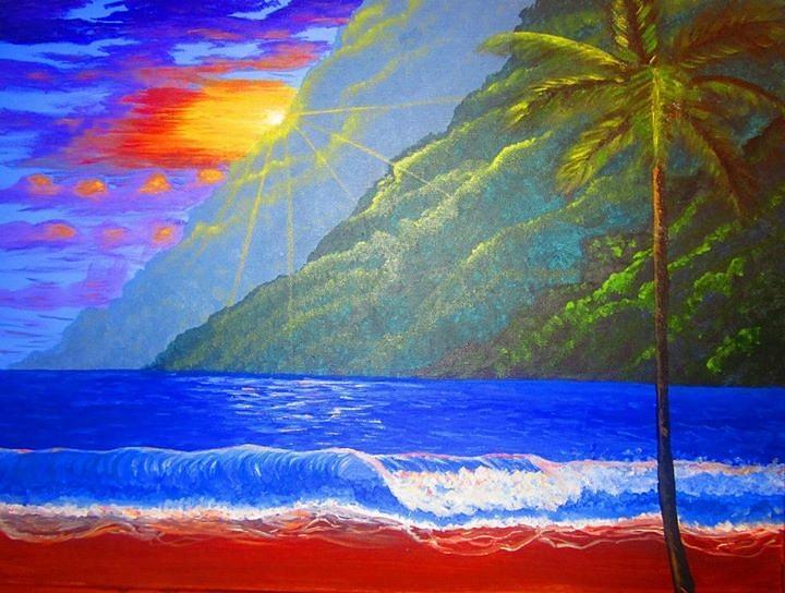 Mountains Painting - Lush Mountains by Haleema Nuredeen