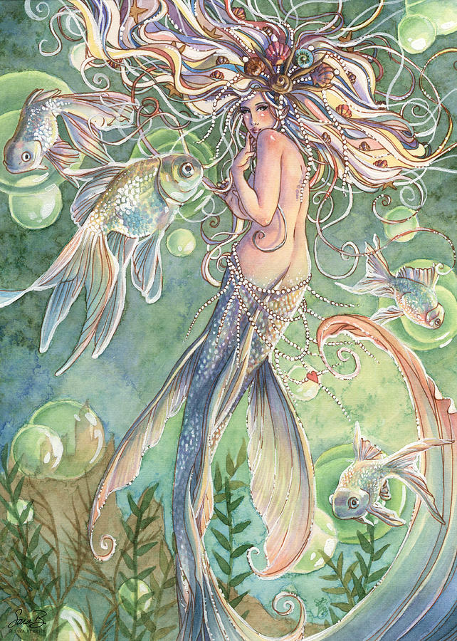 Mermaid Painting - Lusinga by Sara Burrier