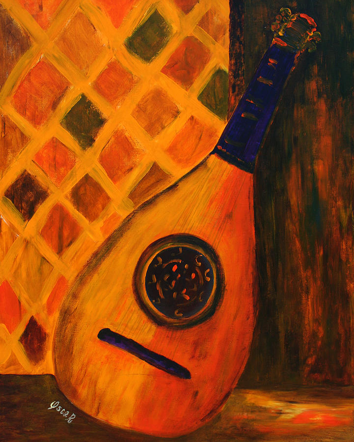 Original Painting - Lute By The Window  by Oscar Penalber