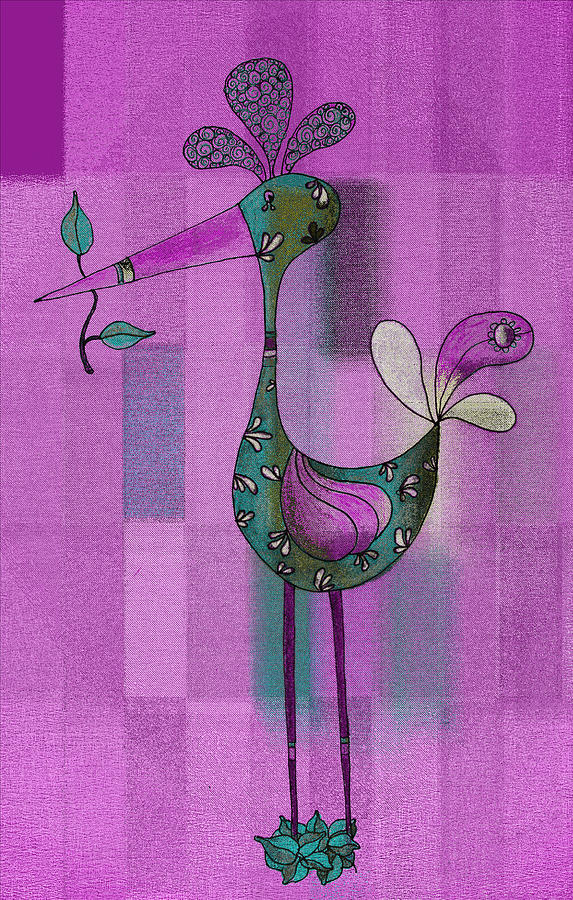 Bird Drawing - Lutgardes Bird - 061109106-purple by Variance Collections