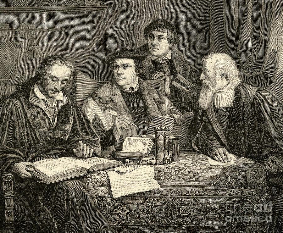 Century Drawing - Luther Melancthon Pomeranus And Cruciger Translating  by English School
