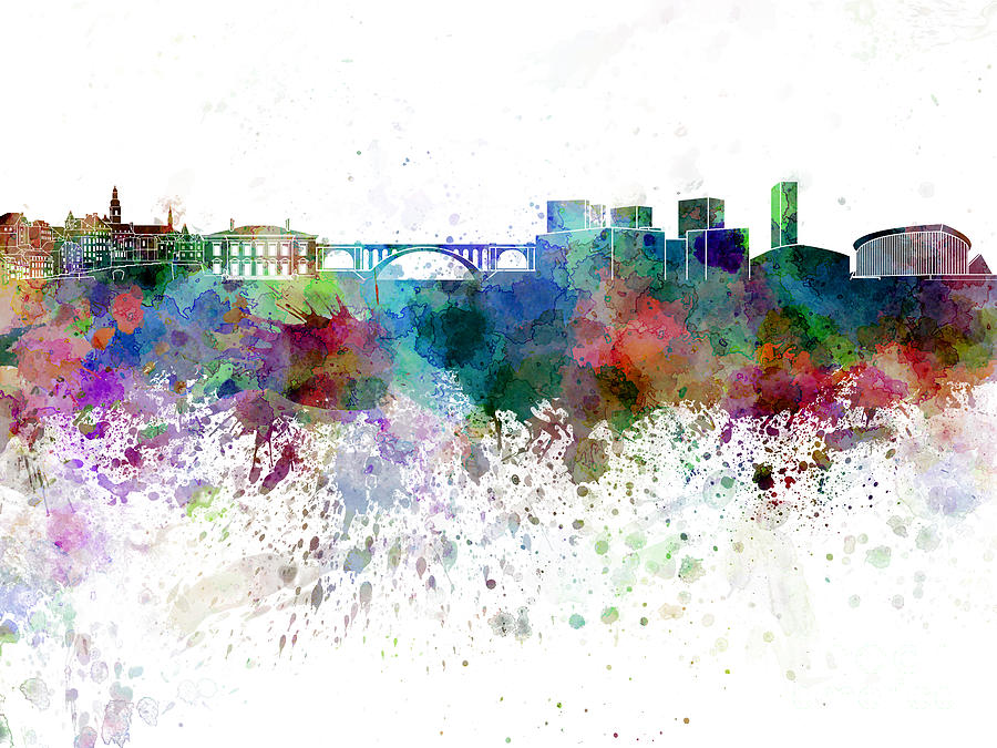 Abstract Painting - Luxembourg Skyline In Watercolor On White Background by Pablo Romero