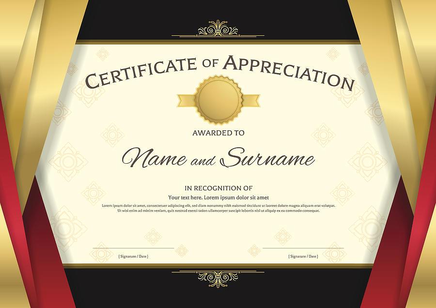 Luxury Certificate Template With Elegant Golden Border, Diploma Design