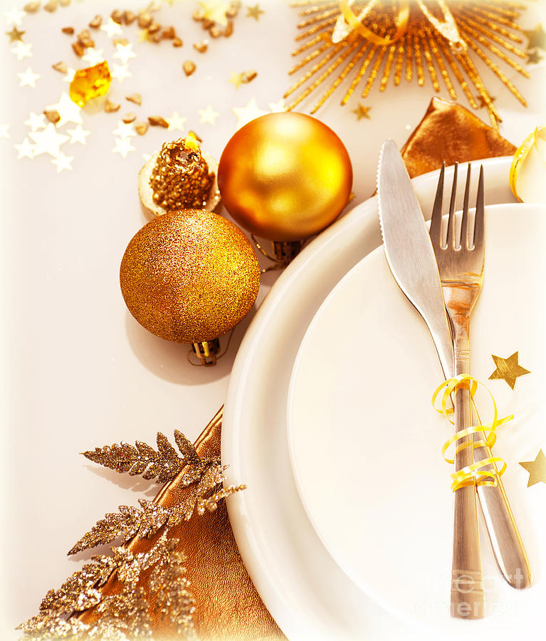 Balls Photograph - Luxury Christmas Table Setting by Anna Om